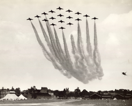Photo of 18 Hawker Hunters of 111 Squadron at the Farnborough Air Show in 1960