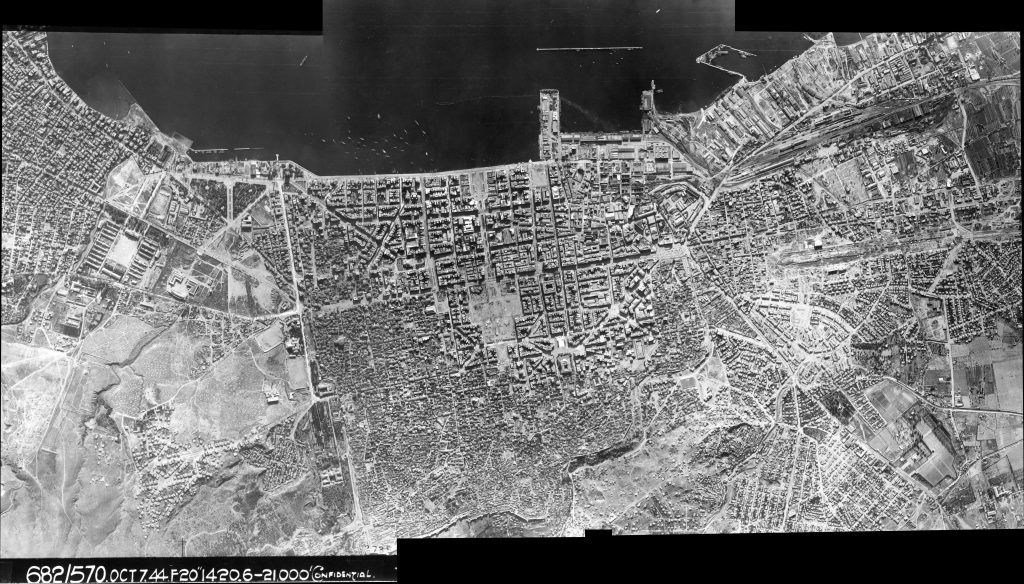 A photo-mosaic of some of the frames stitched together, taken from the flight path over Thessaloniki marked in the previous image.