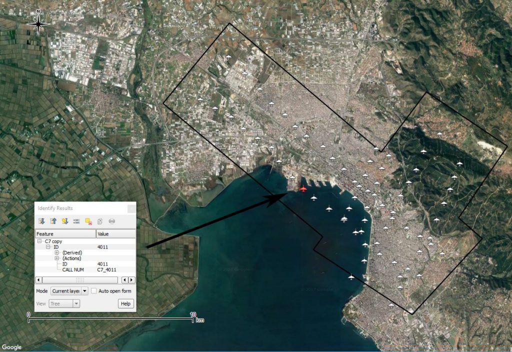Image from the digital map of Greece, showing the Thessaloniki area with a flight path (black polygon) and individual frames (plane icons) marked, and the information box for a selected frame.