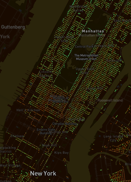 Treepedia map of Manhattan, New York showing the 'empty' space of Central Park