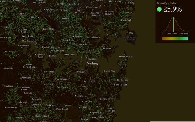 Treepedia map of Sydney, showing Green View Indicator percentage