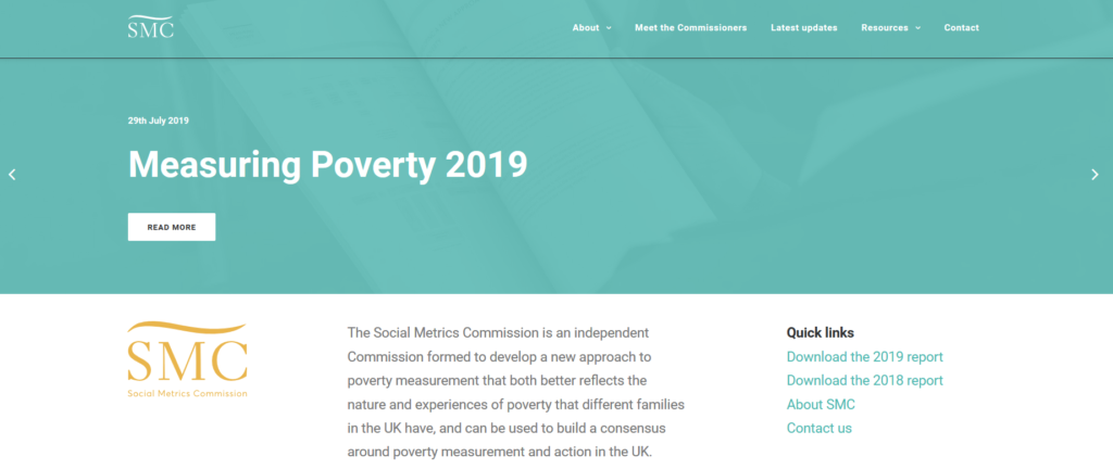 Screenshot of top of Social Metrics Commission's 'Measuring Poverty 2019' webpage