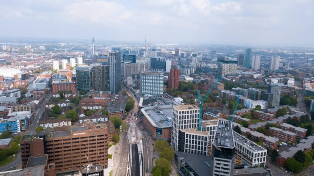 Birmingham city centre from above