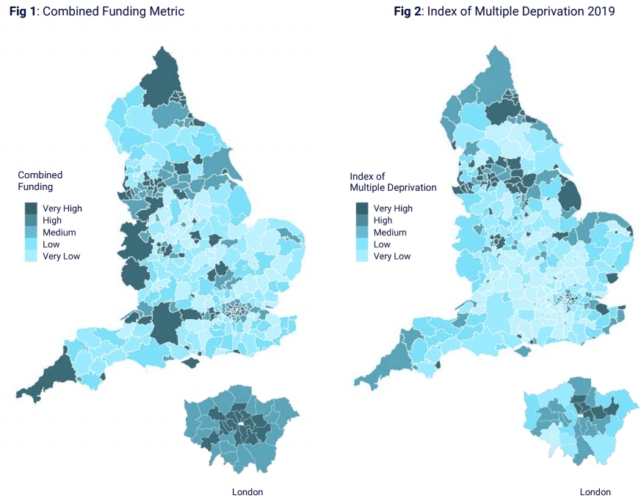 Image: figures showing map of England and Wales. Figure 1 depicts the Combined Funding Metric and figure 2 shows the Index of Multiple Deprivation, with scales on both ranging from very low to very high.