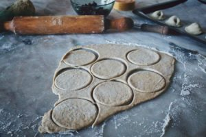 rolling pin and pastry cut-outs