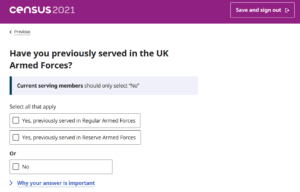 Example new census question, about having served in the UK armed forces