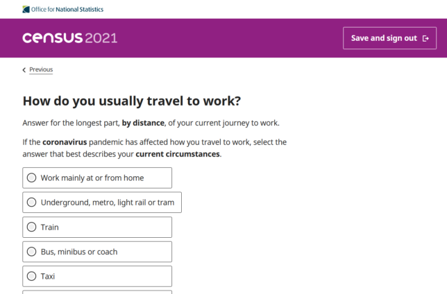 census question about travel to work