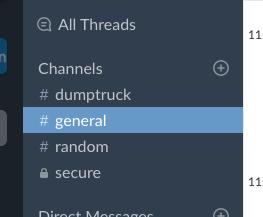 Screenshot of Slack Channels