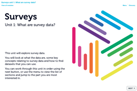Start page of the surveys data skills module